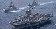 Japanese fighter jets conduct joint drill with U.S. carrier off Okinawa