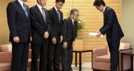 Abe meets with 4 governors over N Korean missile threat