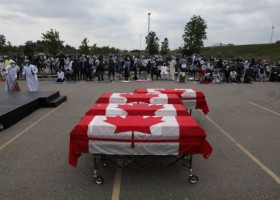 Muslim victims of truck attack given farewell with coffins draped in Canadian flags